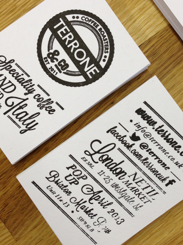 terrone-coffee-roaster-letterpress-business cards